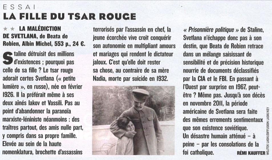 Article paru dans Figaro Magazine La Malédiction de Svetlana - Beata de Robien