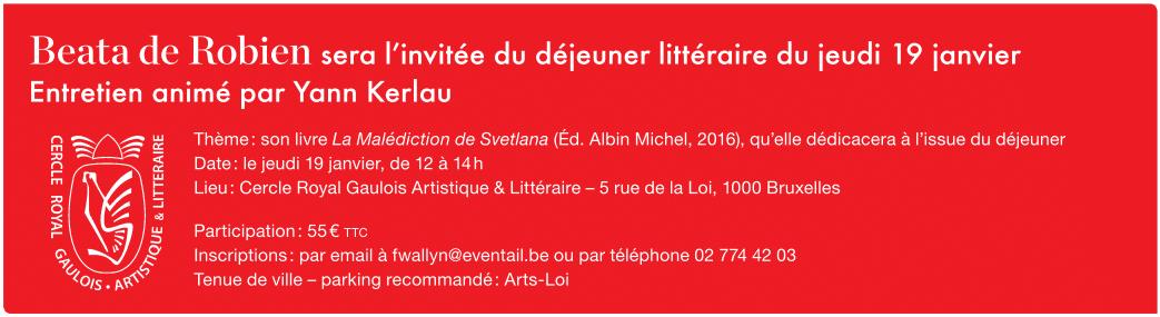 Invitation déjeuner littéraire avec Beata de Robien 19 Janvier 2016 - L'éventail - Yann Kerlau - Belgique