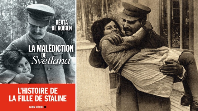 destin brisé de la fille de Staline : La couverture du livre de Beata de Robien. À droite, une photo de Staline avec sa fille en 1936. Photo : La Presse canadienne / Albin Michel/AP Photo (courtoisie d'Icarus Films)